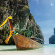 Traditional longtail boats in the famous Maya bay of Phi-phi Leh — Stock Photo #26421621