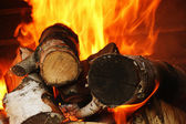 Wood burning in the fireplace — Stock Photo