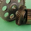 Gears on a green background — Stock Photo