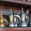 Eastern metal jugs in the Arab shop — Stock Photo