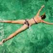 Young girl on the beach snorkel Maya Bay on Phi Phi Ley — Stock Photo