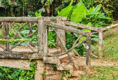 Old wooden bridge in the forest — Stock Photo