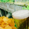 Glass of beer and potato chips in a landscape — Stock Photo #27019123