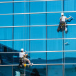 Workers washing windows of the modern building — Stock Photo #28793573