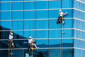 Workers washing windows of the modern building — Stock Photo