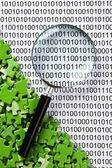 Rompecabezas y la lupa en un código binario — Foto de Stock