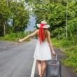 Young girl walking down the road with a suitcase — Stock Photo #29357433