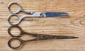 Old tailor scissors on the wooden background — Stok fotoğraf
