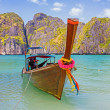 Traditional longtail boats in the famous Maya bay of Phi-phi Don — Stock Photo #29870305