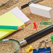 Office supplies in a mess on the table — Foto Stock