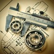 Stock Photo: Mechanical scheme and bearing
