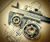 Mechanical scheme and bearing — Stock Photo