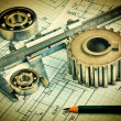 Stock Photo: Old technical drawing and pinion with bearings