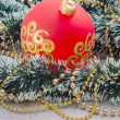Christmas ball on Christmas background — Stock Photo