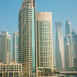 General view of the Dubai Marina in the morning mist — Stok fotoğraf