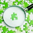 Magnifying glass on the green puzzle — Stock Photo #33479261