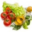Set vegetable and jug of vegetable oil — Foto Stock