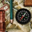 Compass on the old map — Foto Stock