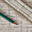 Stock Photo: Pencil and a slide rule