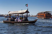 Traditional Abra boat at the creek in Dubai, UAE — Stock Photo