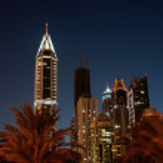 Dubai Marina at night. United Arab Emirates — Stock Photo