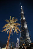 Night view of Burj Khalifa in Dubai, UAE — Stock Photo