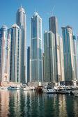 Moderní město u zálivu v ranní mlze — Stock fotografie