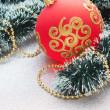 Christmas ball on Christmas background — Stock Photo