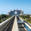 Atlantis hotel and monorail train in Dubai — Stok fotoğraf