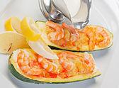 Cucumber stuffed shrimps — Stock Photo