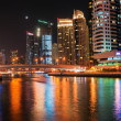 Modern buildings in Dubai Marinat night. UAE — Stock Photo #38407487