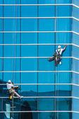 Trabajadores limpiando las ventanas del edificio moderno — Foto de Stock
