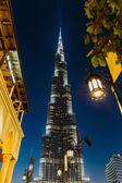 Natt utsikt över burj khalifa — Stockfoto