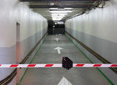 Entrance to parking and barrier — Stok fotoğraf
