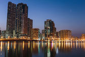 Night view of Sharjah UAE — Stock Photo