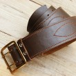Stock Photo: Leather belt with buckle