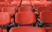 Linhas de cadeiras vermelhas na sala de conferências vazia — Fotografia Stock