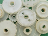 Old plastic gears — Stock Photo