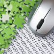 Computer mouse and  puzzles on binary code — Stock Photo #41628087