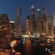 General view of Dubai Marina at night from the top — Stock Photo