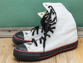 Old leather white shoes — Stock Photo