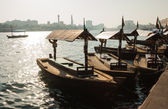 Traditional Abra ferries at the creek in Dubai — Stock Photo
