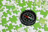 Compass on the puzzle — Stock Photo