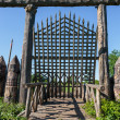 Old wooden fortification wall of the fort — Stock Photo #47541261