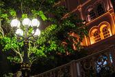 Metal streetlight, night view — Stock Photo
