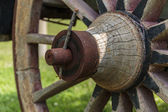 Close up Old wooden wagon wheel  — Stock Photo