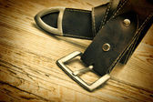 Leather belt with buckle — Stock Photo