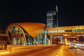 Metro subway station at night in Dubai United Arab Emirates — Stock Photo