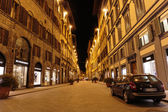 Night street in downtown Florence, Italy — Stock Photo