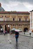 Piazza Maggiore with Accursio Palace. — Stock Photo